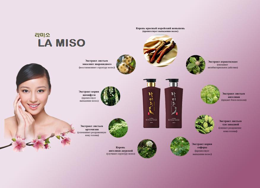 шампунь для волос с красным женьшенем la miso корея