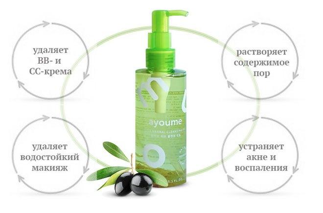 Освежающее гидрофильное масло Ayoume Olive Cleansing Oil