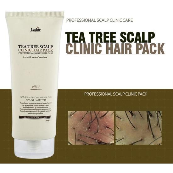Маска-пилинг для очищения кожи головы с экстрактом чайного дерева Tea Tree Scalp Clinic Hair Pack Lador (фото, вид 2)