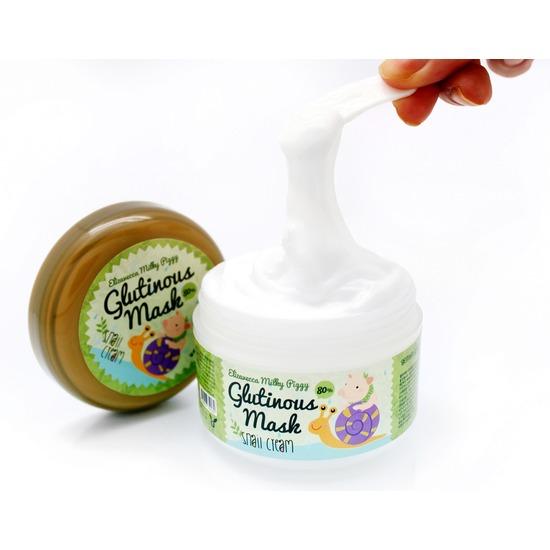 Ночная крем-маска для лица с 80% муцином слизи улитки Milky Piggy Glutinous 80% Mask Snail Cream Elizavecca (фото, вид 1)