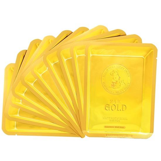 Маска тканевая с золотом и секретом улитки 24k Gold Water Dew Snail mask Elizavecca (фото, вид 1)