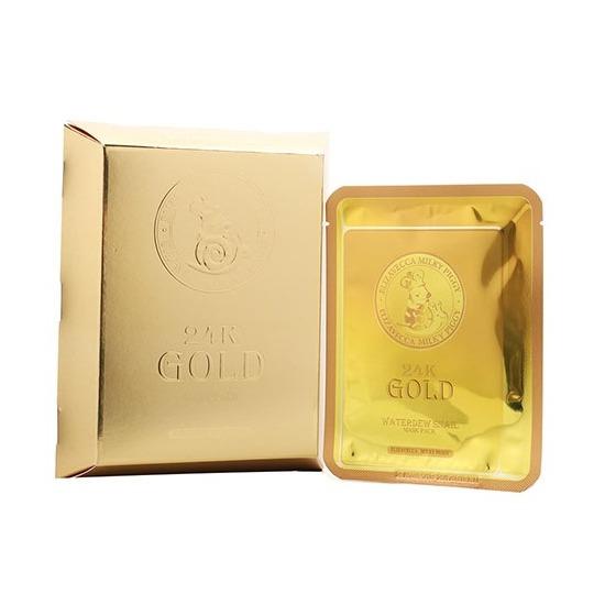 Маска тканевая с золотом и секретом улитки 24k Gold Water Dew Snail mask Elizavecca (фото, вид 2)