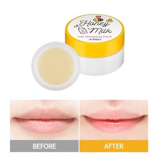 Молочно-медовая ночная маска для губ Honey & Milk Lip Sleeping Pack Apieu (фото, вид 1)