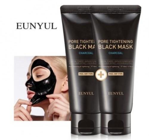 Черная маска пленка сужающая поры с углем Pore Tightening Black Mask Eunyul (фото, вид 1)