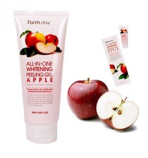 Осветляющий пилинг гель с экстрактом яблока All In One Whitening Peeling Gel Apple FarmStay (фото, вид 1)