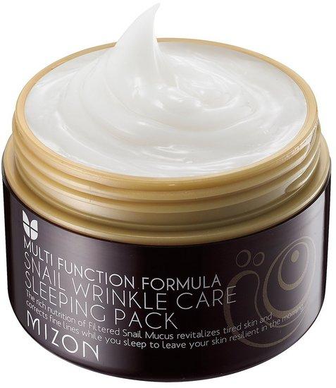 Антивозрастная ночная маска для лица с экстрактом улиточной слизи Snail Wrinkle Care Sleeping Pack Mizon (фото, вид 1)