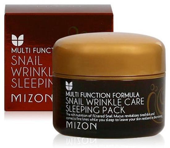 Антивозрастная ночная маска для лица с экстрактом улиточной слизи Snail Wrinkle Care Sleeping Pack Mizon (фото, вид 2)