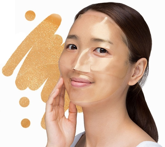 Гидрогелевая маска для лица с золотым комплексом +5 Gold Hydrogel Mask Pack golden complex Petitfee (фото, вид 1)
