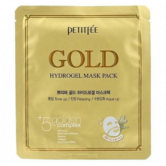 Гидрогелевая маска для лица с золотым комплексом +5 Gold Hydrogel Mask Pack golden complex Petitfee (фото, вид 2)