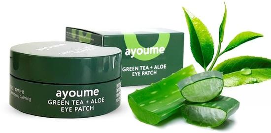 Патчи для глаз от отечности с экстрактом зеленого чая и алоэ Ayoume (фото, гидрогелевые патчи для глаз с экстрактом зеленого чая и алоэ Ayoume)