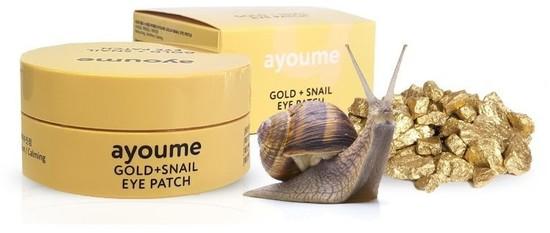 Омолаживающие патчи для глаз с золотом и улиточным муцином Ayoume (фото, Патчи для глаз омолаживающие Ayoume)