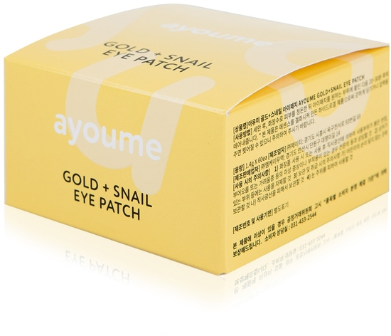 Омолаживающие патчи для глаз с золотом и улиточным муцином Ayoume (фото, гидрогелевые патчи для глаз омолаживающие с золотом и улиточным муцином Ayoume)