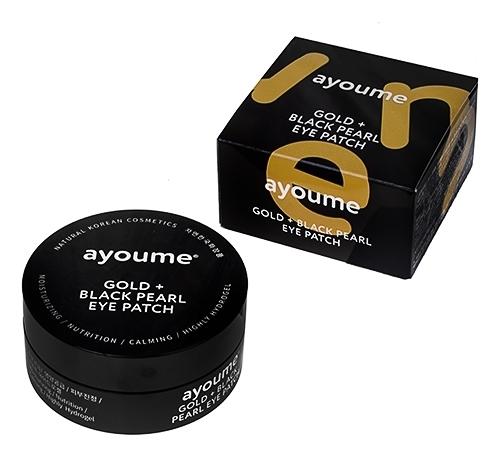 Патчи для глаз от темных кругов с золотом и черным жемчугом Ayoume (фото, гидрогелевые патчи для глаз от темных кругов с золотом и черным жемчугом Ayoume)
