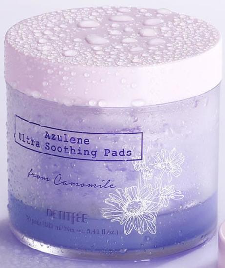 Ультра успокаивающие подушечки для лица с азуленом Azulene Ultra Soothing Pads Petitfee (фото, вид 1)