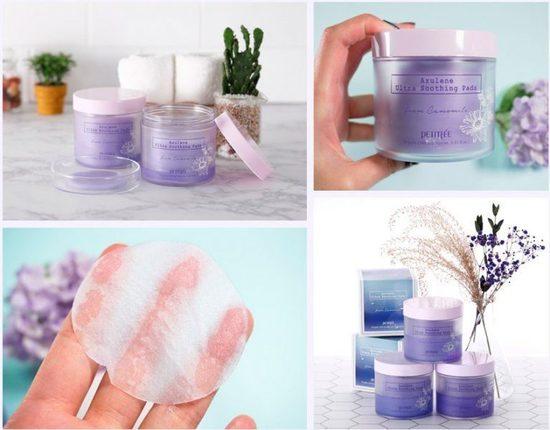 Ультра успокаивающие подушечки для лица с азуленом Azulene Ultra Soothing Pads Petitfee (фото, вид 2)