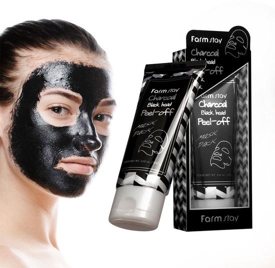 Очищающая маска пленка с древесным углем Charcoal Black Head Peel-off Mask Pack FarmStay (фото, вид 1)