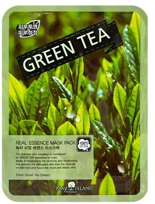 Тканевая маска для лица с экстрактом зелёного чая May Island (фото, вид 1)