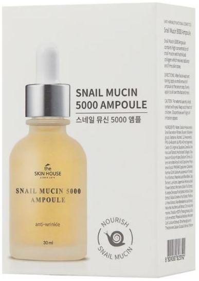 Омолаживающая ампульная сыворотка с муцином улитки Snail Mucin 5000 Ampoule The Skin House (фото, вид 1)