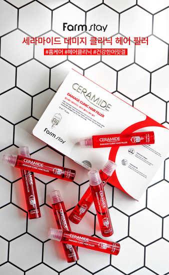 Восстанавливающий филлер для поврежденных волос с керамидами Ceramide Damage Clinic Hair Filler FarmStay (фото, вид 2)