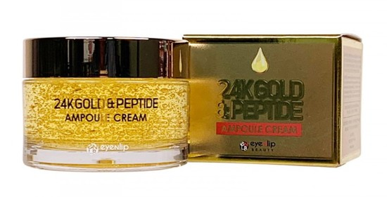 Ампульный крем для лица с золотом и пептидами 24K Gold & Peptide Ampoule Cream Eyenlip (фото, вид 2)