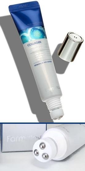 Лифтинг сыворотка роллер для кожи вокруг глаз с коллагеном Collagen Water Full Moist Rolling Eye Serum FarmStay (фото, вид 1)