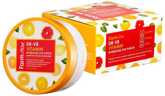 Антивозрастные витаминные патчи для глаз DR-V8 Vitamin Hydrogel Eye Patch FarmStay (фото, вид 1)