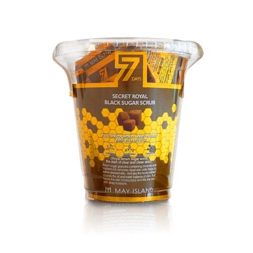 Нежный скраб для лица с коричневым сахаром и медом в пирамидках Seven Days Secret Royal Black Sugar Scrub May Island (фото, вид 1)