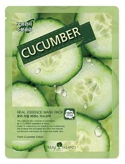 Тканевая маска для лица с огурцом Real Essence Cucumber Mask Pack May Island (фото, вид 1)