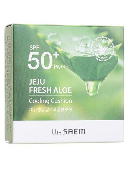 Кушон охлаждающий солнцезащитный Jeju Fresh Aloe Cooling Cushion Natural Baige SPF 50 The Saem (фото, вид 1)