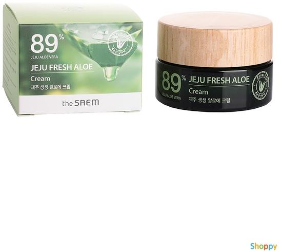 Увлажняющий успокаивающий крем для лица с алоэ Jeju Fresh Aloe Cream The Saem (фото, вид 1)