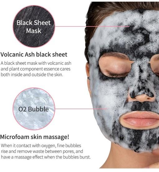 Кислородная маска с вулканической глиной Detoxifying Black O2 Bubble Mask Volcano Eyenlip (фото, вид 1)