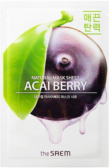 Тканевая маска с экстрактом ягод асаи Natural Acai Berry Mask Sheet The Saem (фото, вид 1)