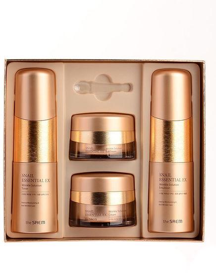Набор антивозрастных средств премиум-класса с улиточным экстрактом Snail Essential Ex Wrinkle Solution Skin Care 3 Set The Saem (фото, вид 1)