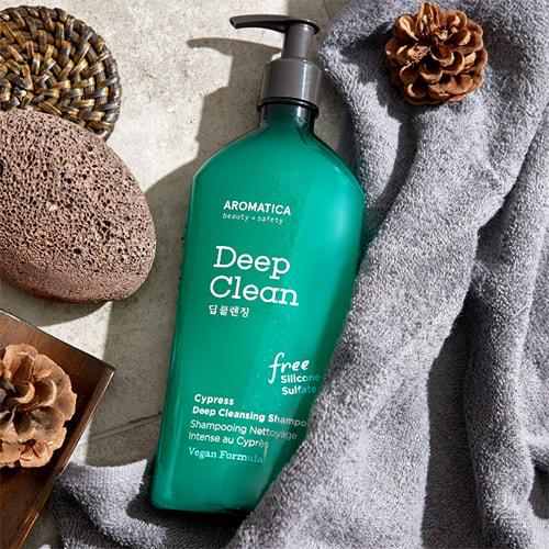 Бессульфатный шампунь для глубокого очищения с кипарисом Cypress Deep Cleansing Shampoo Aromatica (фото, вид 1)