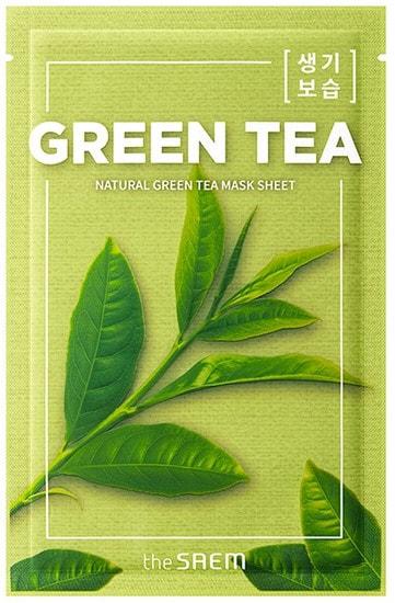 Тканевая маска для лица с экстрактом зеленого чая Natural Green Tea Mask The Saem (фото, Natural Green Tea Mask The Saem)