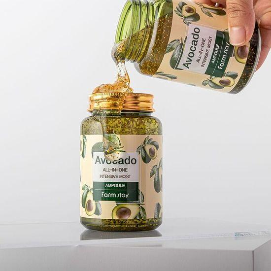 Многофункциональная ампульная сыворотка с экстрактом авокадо Avocado All-In-One Intensive Moist Ampoule FarmStay (фото, сыворотка с авокадо фармстей)