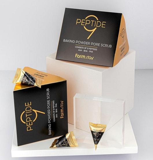 Скраб для лица в пирамидках с содой и пептидами Peptide 9 Baking Powder Pore Scrub FarmStay (фото, FarmStay Peptide 9 Baking Powder Pore Scrub)