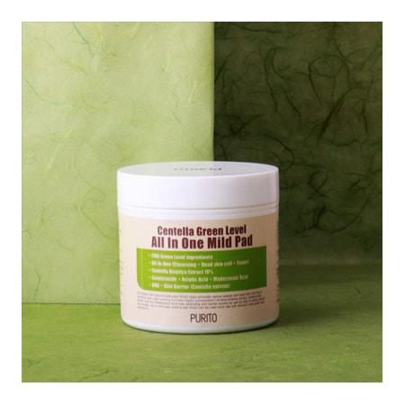 Увлажняющие пэды для очищения кожи с центеллой Centella Green Level All In One Mild Pad Purito (фото, Purito Centella Green Level All In One Mild Pad)