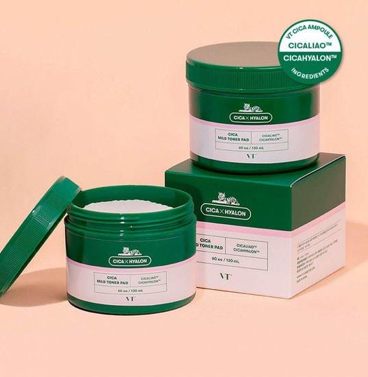 Успокаивающие пэды для чувствительной кожи с центеллой Cica Mild Toner Pad VT Cosmetics (фото, VT Cosmetics Cica Mild Toner Pad)