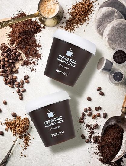 Согревающая маска для лица с экстрактом кофе Espresso Heating Mask FarmStay (фото, корейская маска для лица с кофе)