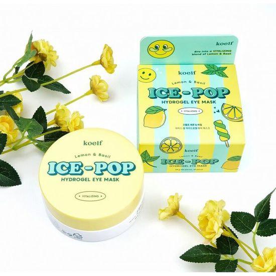 Осветляющие патчи для глаз с экстрактом лимона и базилика Koelf Ice-Pop Hydrogel Eye Mask (фото, Koelf Ice-Pop Lemon & Basil Hydrogel Eye Mask)