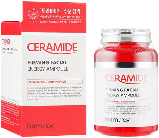 Многофункциональная ампульная сыворотка с керамидами Ceramide Firming Facial Energy Ampoule FarmStay (фото, FarmStay Ceramide Firming Facial Energy Ampoule)