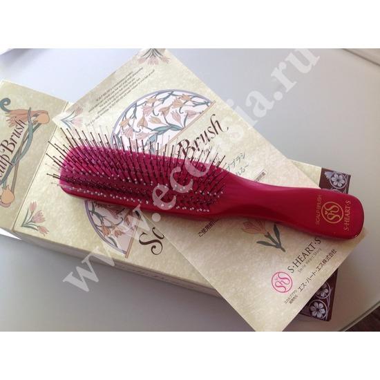 Японская расческа Majestic Premium S-Heart-S Scalp Brush красная (фото, вид 2)