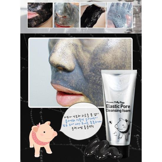 Чёрная пенка-маска для очищения пор на лице Elizavecca (фото, вид 1)