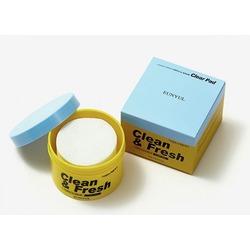 Очищающие диски для пилинга с кислотами Clean & Fresh Pimple & Sebum Clear Pad Eunyul. Вид 2