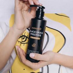 Восстанавливающая маска для волос с муцином улитки Black Snail Prestige Treatment Ayoume. Вид 2