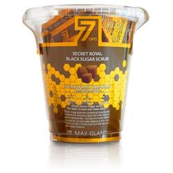 Нежный скраб для лица с коричневым сахаром и медом в пирамидках Seven Days Secret Royal Black Sugar Scrub May Island. Вид 2