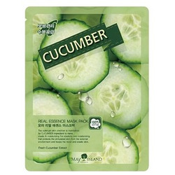 Тканевая маска для лица с огурцом Real Essence Cucumber Mask Pack May Island. Вид 2