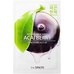 Тканевая маска с экстрактом ягод асаи Natural Acai Berry Mask Sheet The Saem. Вид 2
