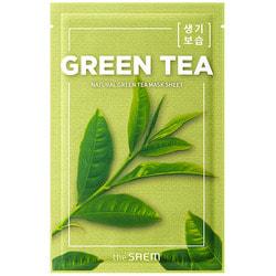 Тканевая маска для лица с экстрактом зеленого чая Natural Green Tea Mask The Saem. Вид 2